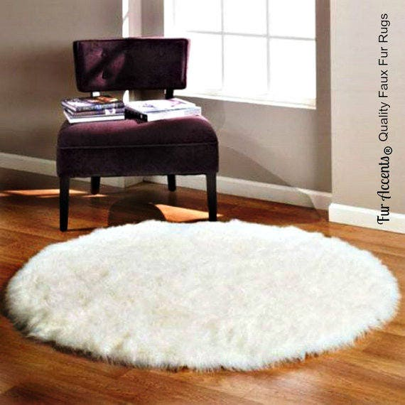 Plush Faux Fur Area Rug Shaggy Sheepskin Round Shape