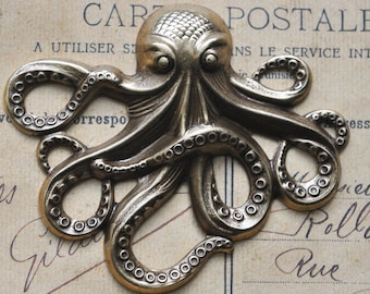 TWO Large Steampunk Brass Octopus, Brass ox, Brass Stampings Made in the USA