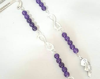 mom & Daughter bookmark in silver,amethyst,books,reading, bookmarks,shape of 8, mothers day, family, love