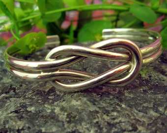Sterling Silver Square Knot Torque Bangle
