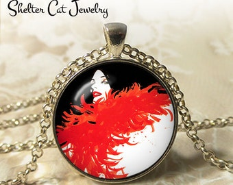 "Lady with Red Feather Boa Necklace - 1-1/4"" Circle Pendant or Key Ring - Wearable Photo Art Jewelry - Woman Artistic Illustration Gift"