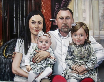 Custom family portrait, portrait from photo, oil painting on canvas, family portrait, gift for family, gift for her, gift for him, realism
