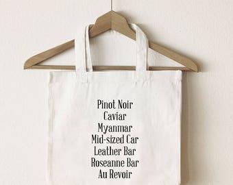 Pinot Noir tote bag/The Unbreakable Kimmy Schmidt tote/  Pinot Noir song Kimmy Schmidt quote/ canvas tote bag/ market tote/ reusable bag