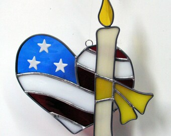 Patriotic Red White and Blue Heart, Handmade in Stained Glass Suncatcher