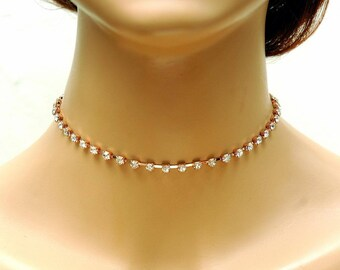 Rhinestone Choker Necklace, Rose Gold Necklace Crystal Choker, Bridal Choker, Diamante Choker, Delicate Choker Necklace, Prom