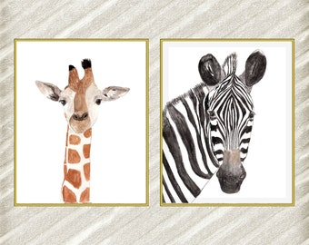 "Watercolor animal digital print: ""SAFARI ANIMALS"" African animals Nursery animal Printable animals art Printable poster Nursery art set of 2"