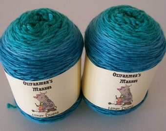 Hiker Duets.  2 x 50gm matching skeins of gradient hand-dyed fingering weight yarn.  Perfect for socks or mittens. Wineglass Bay