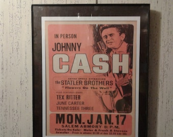 Johnny Cash Vintage Concert Poster Print Retro Vintage Country Music Wall Art Decor Tex Ritter Statler Brothers June Carter Salem Armory