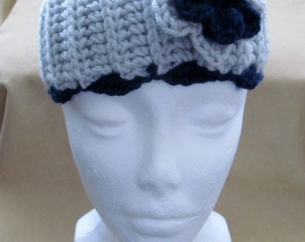 Gray and navy blue ear warmer