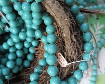Vintage Japanese Robins Egg Blue 10mm  Glass Beads
