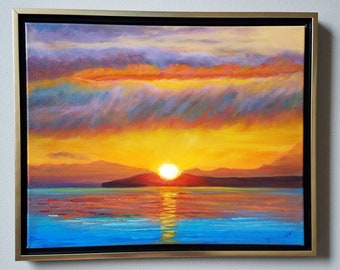 Olympics Sunset Original Oil Landscape in Orange and Gold  and lue 20 x 17 framed