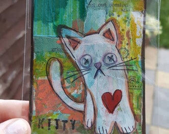 Kitty cat mixed media atc artist trading card aceo