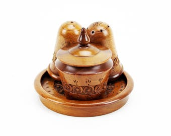 Carved Wooden Cruet Set