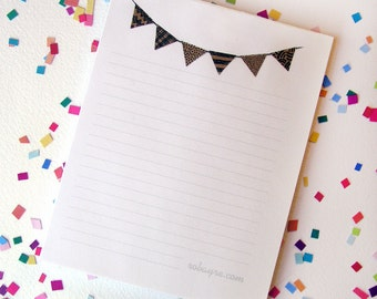 Lined Notepad Bunting Banner Flags Cute brown black
