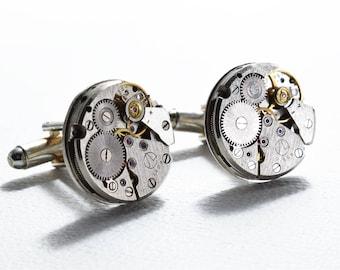 Watch Cufflinks, 18mm Watch Movement, Round Watch, Cufflinks, Steampunk Cufflinks, Vintage Watch, Groomsmen Gifts, Wedding Cufflinks