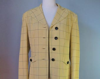 Yellow Blazer / Vtg 80s / Bolmans Lemon Yellow Window Pane Blazer
