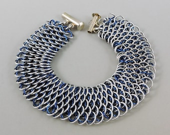 Micro Dragonscale Chainmaille Bracelet, Blue & Silver Color Dragonscale Bracelet, Chainmail Bracelet, Chain Mail Jewelry