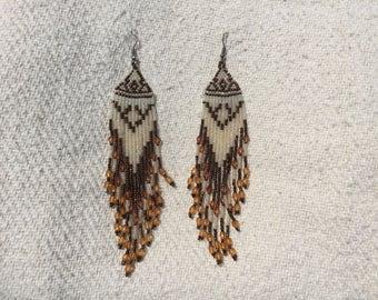 Vintage Hand beaded Native American earrings