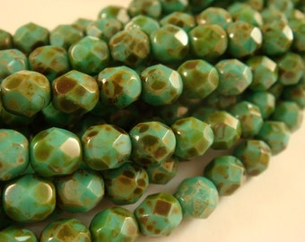 25 Turquoise Czech Glass Picasso Bead Opaque 6mm Fire Polished Faceted Round 1mm hole - 25 pc - G6035-POT25