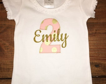 Birthday Girl Second 2 Two Pink & Gold Glitter Polka Dot Onesie Top Tee Shirt One Two Three Four Five Six
