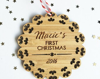 Baby's First Christmas Bamboo Ornament - Girls