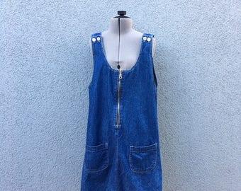 Vintage 90s Cherokee Blue Denim Jumper Dress, 90s Jean Dress, 90s Women's Clothing, 100% Cotton, Size M