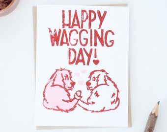 Dog Wedding Greeting Card, Bride and Groom Doggy Card, Wagging Dog Tails, Funny Dog Puns, Lino Cut Cards, Block Printed Cards