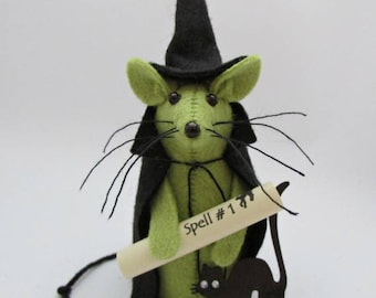Mouse Cake Topper,  Felt Mouse,  Mouse Ornament, Witch Mouse, Halloween Gift