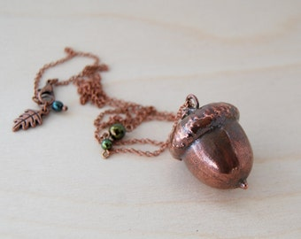 Large Fallen Copper Acorn Necklace | REAL Acorn Charm Pendant | Electroformed Jewelry | Acorn Pendant Necklace | Nature Jewelry