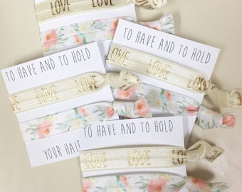 Bridesmaid hair tie favors//hair tie card, hair tie favor, elastic hair ties, bachelorette party,bridesmaid gift, party favor, bride,wedding