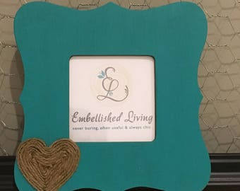 Customizable Rustic Wood Picture Frame with jute heart