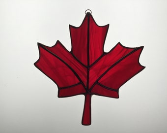 Canadian Maple Leaf Suncatcher in Stained Glass