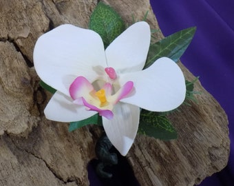 Boutonniere - Faux White Phalaenopsis Orchid Boutonniere With Pink Center - Prom Boutonniere - Wedding Boutonniere