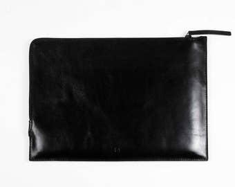"NEW 15"" Pro MacBook leather zip folio MacBook 15 Pro Retina zip case fully lined laptop leather sleeve slim simple black premium leather"
