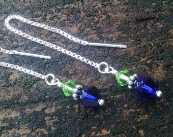 Seahawk Earrings, 12th Man Swarovski Crystal Blue and Green Seahawks  Sterling silver Ear Threader Earrings