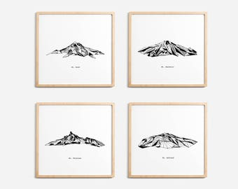 Oregon State Mountains Polygonal Drawings Art Print Collection