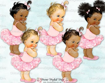 Vintage Ballerina Baby Girl | Pink Tutu Slippers Bows  | 3 Skin Tones | Clipart Instant Download