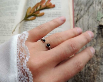 Valentine Gift, dual stone ring, dual onyx ring, gemstone ring, Sterling Silver ring, midi ring, stack ring, stacking ring, bohemian jewelry