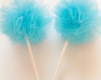 Turquoise Tulle Poms- Pom Poms- Mini Poms
