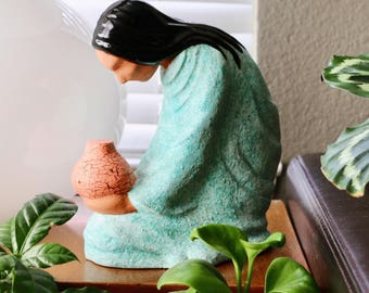 Vintage Ceramic Native American Woman Sculpture, Figurine, Statue, Turquoise, Tan
