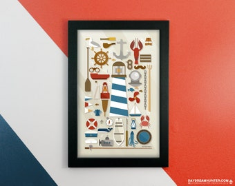 Nautical Collection Print • Ocean Art Poster • Sea Print • Lighthouse • Boat • Marine Decor • Knolling Print • Graphic Design Poster