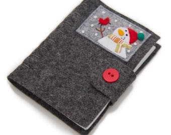 Gray Felt Needle Minder, Embroidered Felt Sewing Book, Holiday Pin Keep, Sewing Needle Case, Sewing Kit, Holiday Sewing, Sewing Storage