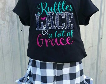 Ruffles lace and a lot of grace outfit -  plaid shorts - girls shorts outfit - girl clothing -  girls outfit