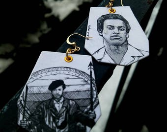 Huey Newton Black Panther Civil Rights Leader- hand-painted historic Figure earrings