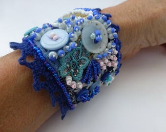 Vintage BLUE VELVET, buttons, beads, lace and braided cuff. UK seller
