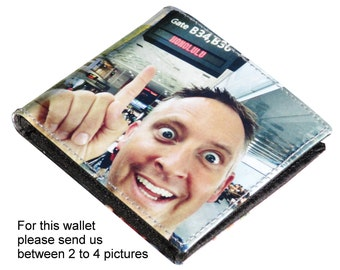 MEDIUM custom wallet for men with pictures from you - FREE SHIPPING - customized name wallet initials wallets dad father grandfather gifts