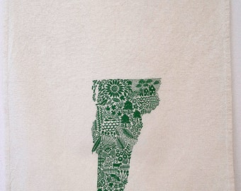 Vermont Tea towel, screen printed state of Vermont, cotton tea towel