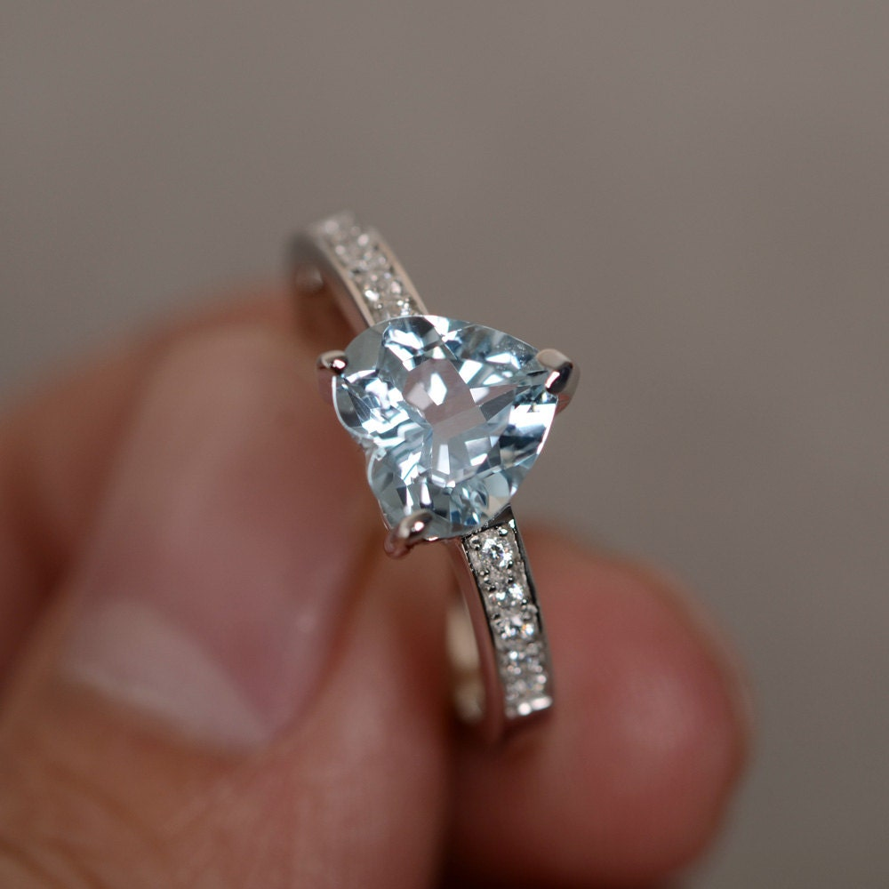 diamond aquamarine cocktail natural accents engagement ring carat rings