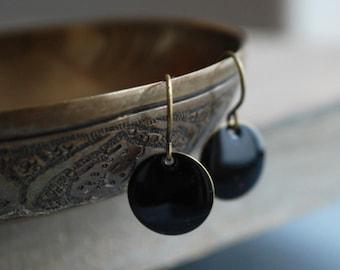 Black minimal style earrings // hostess gift // jewelry // elegant // Stocking Stuffer for Her Under 15