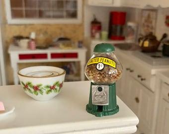 Miniature Peanut Machine, Filled Green Coin Peanut Machine, Dollhouse Miniature, 1:12 Scale, Dollhouse Accessory, Decor, Topper, Crafts